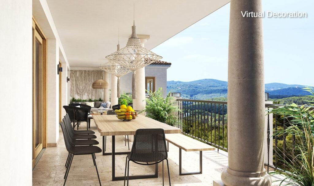 Exclusieve villa omgeven door groen met een panoramisch uitzicht op Dalt Vila en de zee